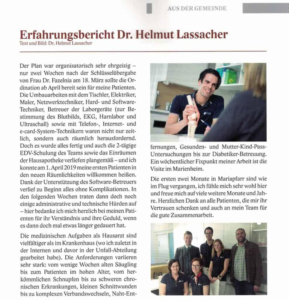 Erfahrungsbericht Dr. Helmut Lassacher